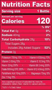 Strawberry Banana nutrients chart